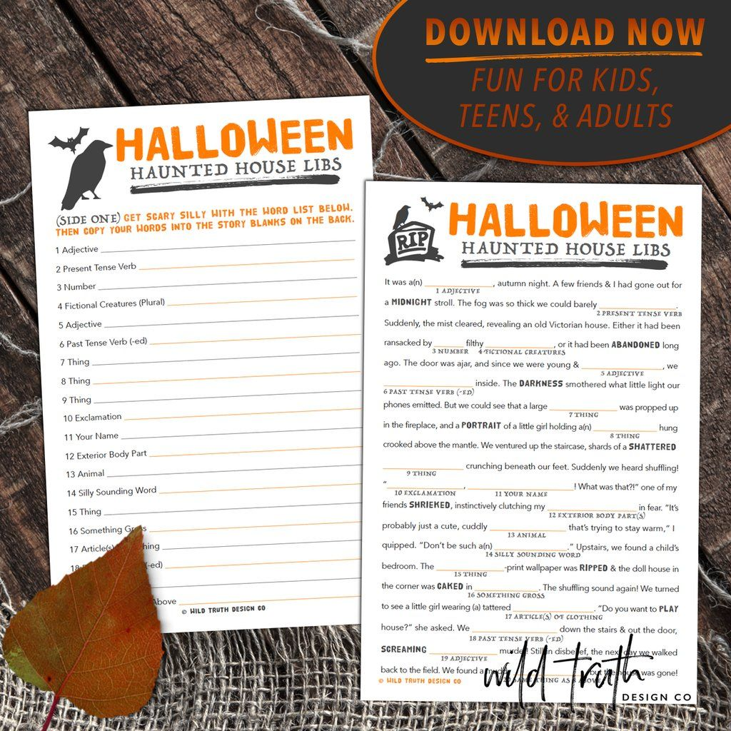 Spooky Halloween Mad Libs Printable