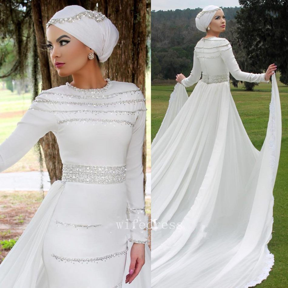 Mermaid wedding dress with detachable train  Awesome Amazing Muslim Wedding Dresses Arab Saudi Arabia Removable