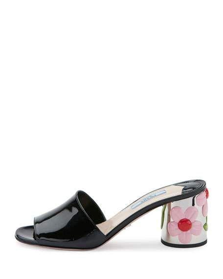 cheap popular buy cheap nicekicks Prada 2017 Floral-Heeled Slide Sandals ncBGD7