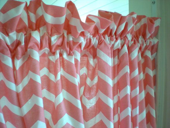 Set Of 2 Curtain Panels Coral Pink Chevron Curtains White And