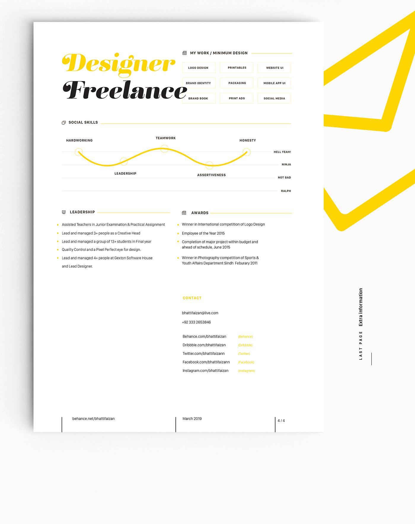 My new resume cv self branding on behance self
