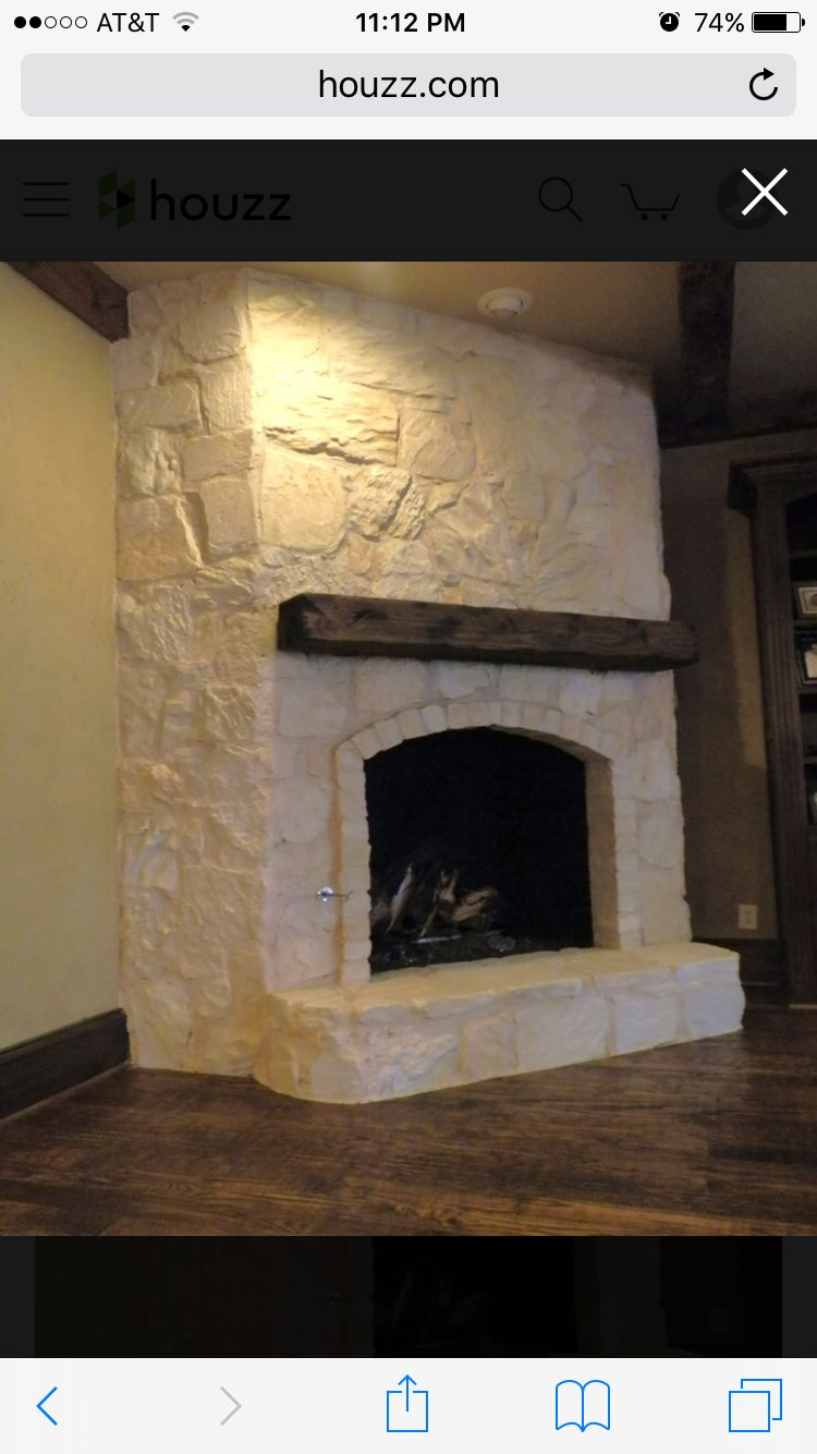 Austin Stone Fireplace With Chunky Rustic Mantle Stone