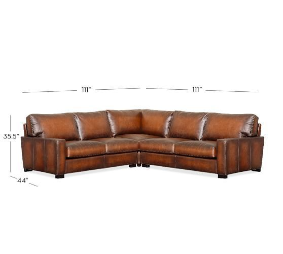 Wondrous Turner Square Arm Leather 3 Piece L Shaped Sectional With Gmtry Best Dining Table And Chair Ideas Images Gmtryco