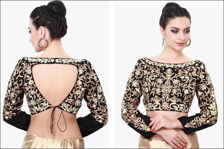 ba7cc93c39e3bc Boat neck blouse designs black raw silk long sleeve with heavy gold also  dakshina indulkar dakshinaindulkar