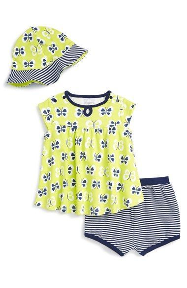 Offspring Butterfly Print Dress & Floppy Hat Set (Baby Girls)