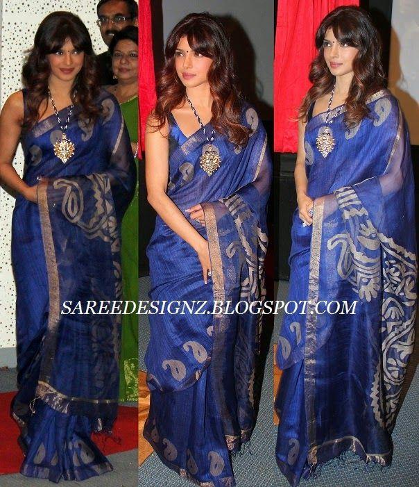c280b0870ee7e Saree Designz  Priyanka Chopra in Traditional Jute Silk Saree
