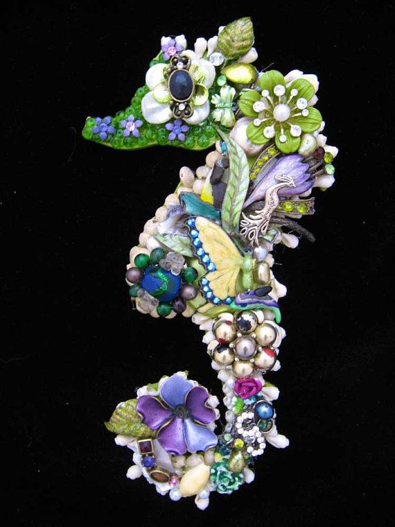 Seahorse Vintage Jewelry Art Jewelry Mosaic Wall Art ...