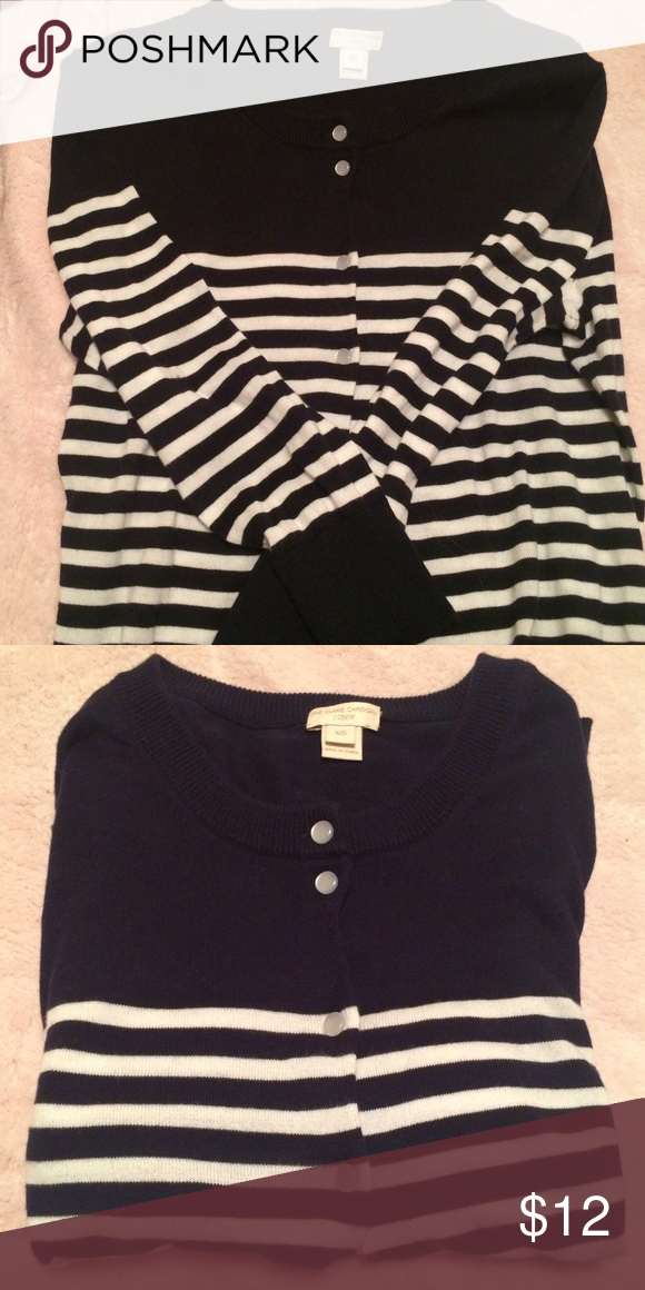 J. Crew Factory Striped Clare Cardigan This piece can be worn with soo many different outfits, I love how versatile it is! The color looks black, but it is actually just a very dark navy (it's easier to see more of the navy in it in pic #2). J. Crew Factory Sweaters Cardigans