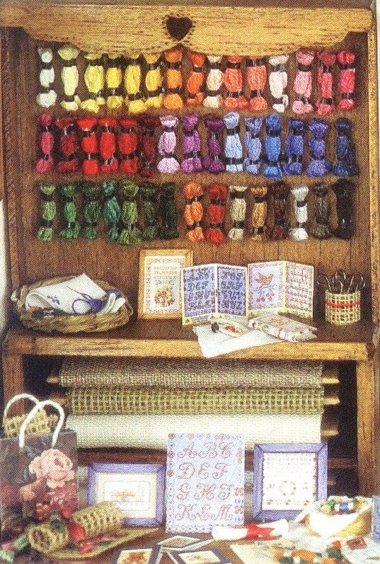 Great visual inspiration for dollhouse 1:12 embroidery/sewing supplies - multipe little pictures however instructions in French | Source: Le comptoir aux ouvrages