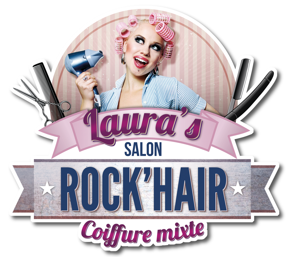 le logo du salon de coiffure rock 39 hair avec sa pin 39 up. Black Bedroom Furniture Sets. Home Design Ideas