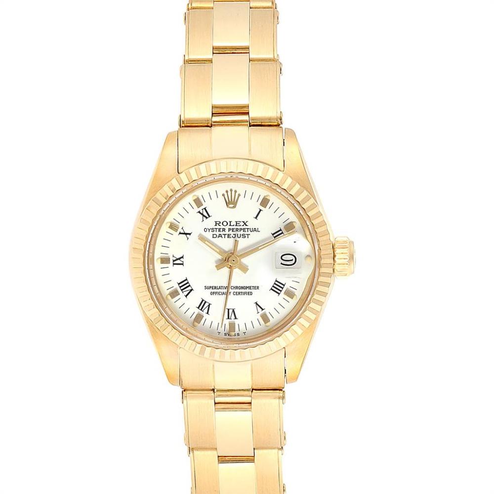 Rolex Datejust 18k Yellow Gold White Dial Ladies Watch 6917 Swisswatchexpo Rolex Watches Women Rolex Datejust Rolex Logo