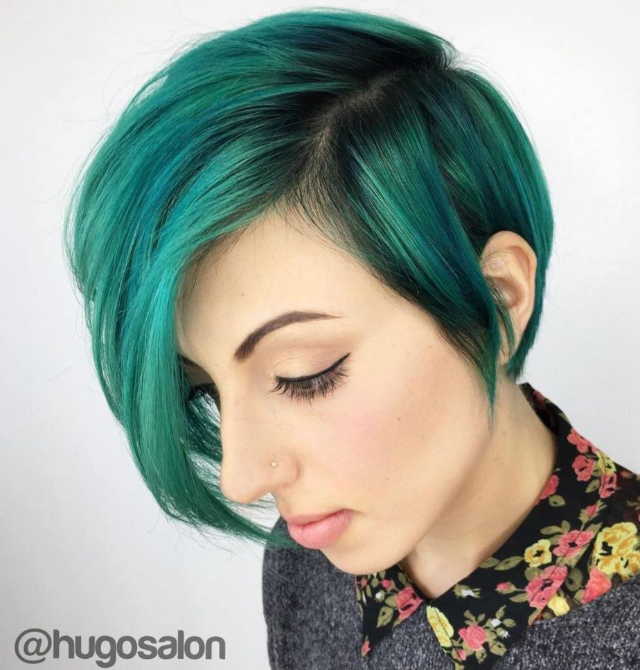 Green pixie bob hairstyle kool color in pinterest hair