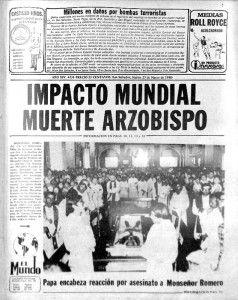 PORTADAHISTÓRICA Miles de personas acudieron a la basílica Sagrado Corazón a una misa de cuerpo presente oficiada el 25 de marzo de 1980, tras el crimen del arzobispo Romero. Papa Juan Pablo II condenó el crimen.