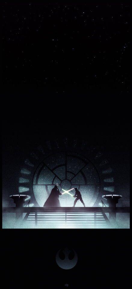 Star Wars Darth Vader And Luke Combat Iphone 6 Wallpaper Star Wars Painting Star Wars Poster Star Wars Episodes