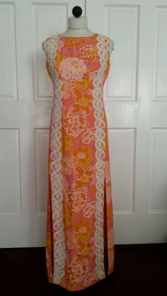 65edb8092ba 60 s Vintage Lilly Pulitzer Maxi Shift Long dress