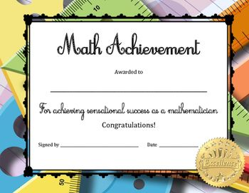Math Achievement Certificate | High school students ...