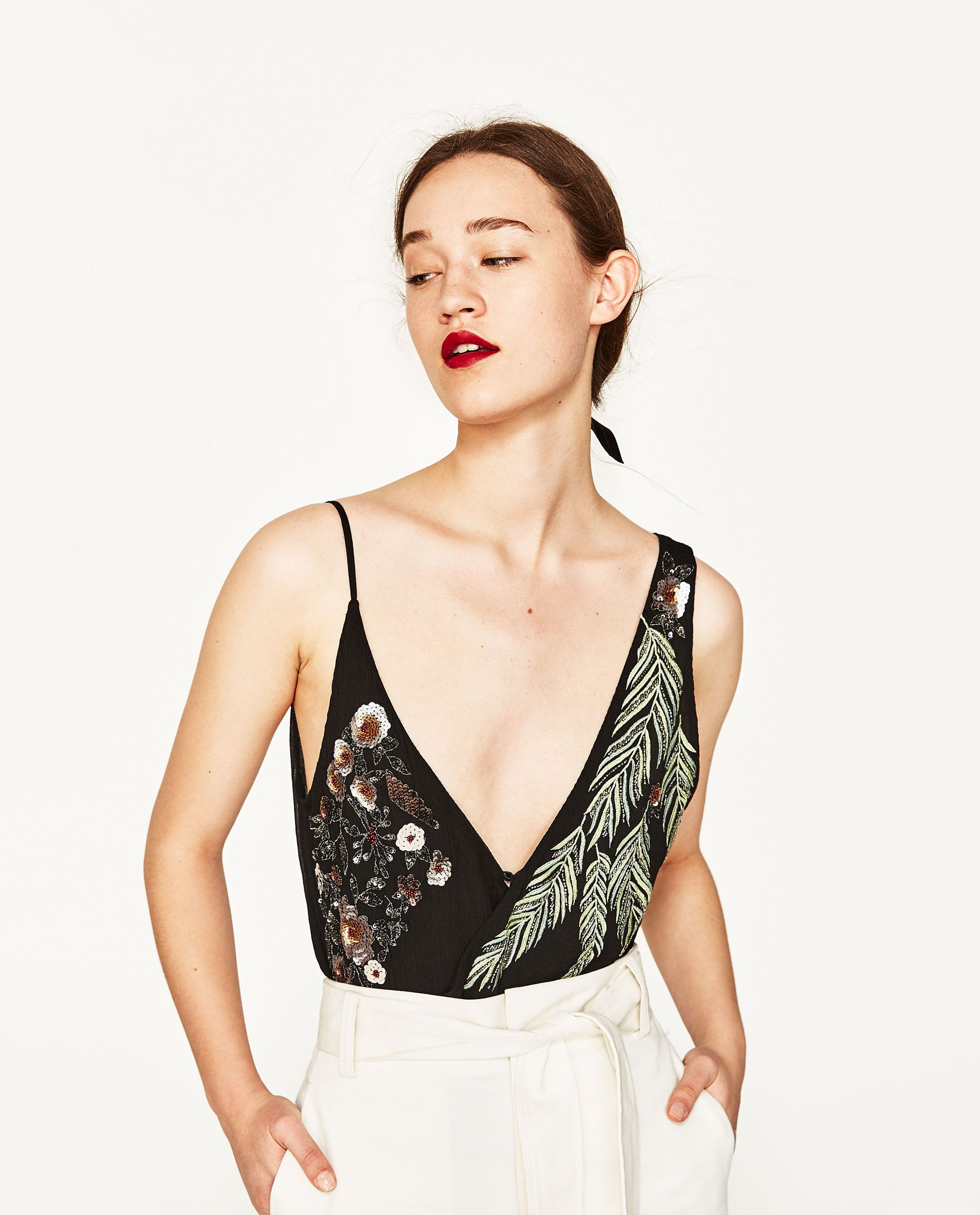 aa386796f9 Image 2 of EMBROIDERED BODYSUIT from Zara I would pair with dark green  suede skirt and OTK boots