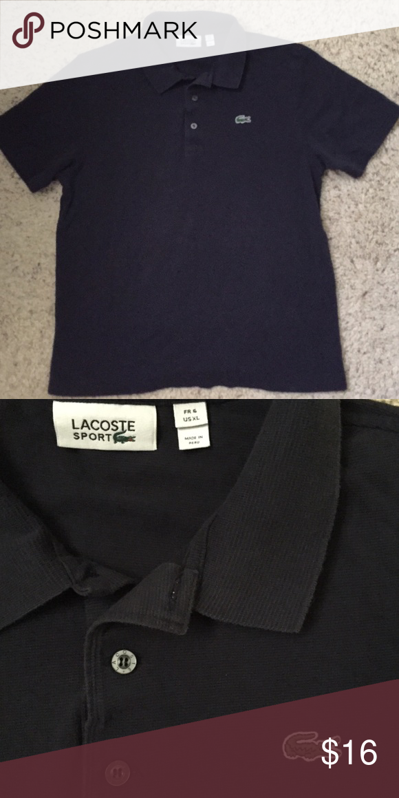 Lacoste men's polo shirt Lacoste men's polo shirt, navy blue, never worn, XL Lacoste size but fits like a large Lacoste Shirts Polos