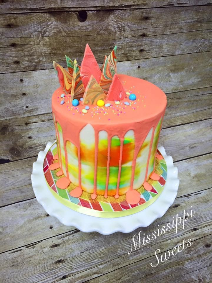 Drippy cake Buttercream Birthday cake White chocolate shards