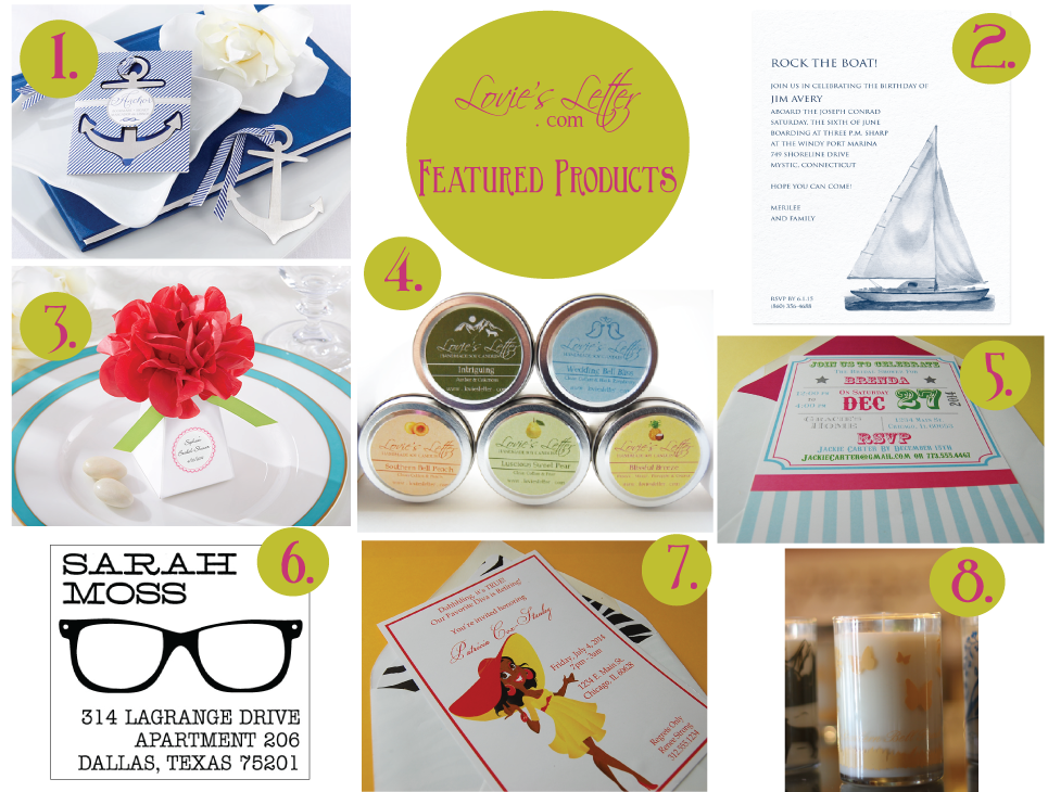 LoviesLetter.com Featured Products #PartyInvitations #Stamps #Embossers #PartyFavors #SoyCandles
