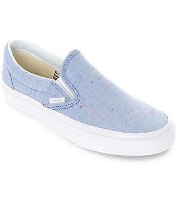 b7d1202b0f9e Vans Slip-On Speckle Jersey Blue Shoes