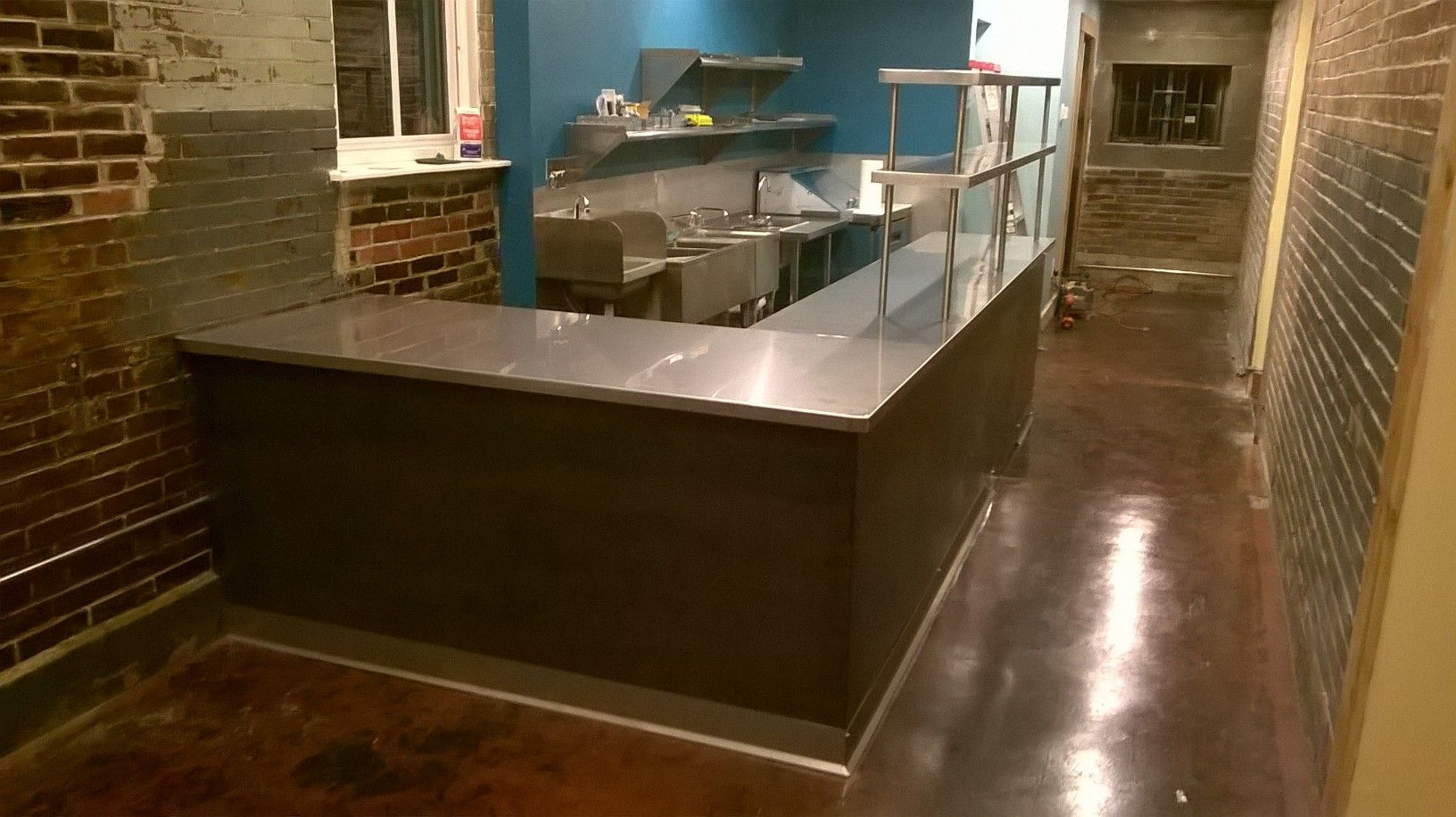 Steel Frame Supporting Stainless Countertop Double Overshelves Includes Toe Kick And Hot Rolled Front Panels