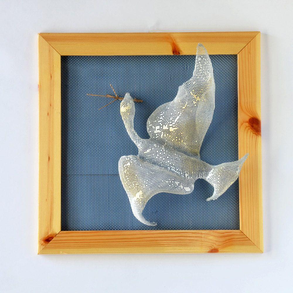Wall Decor - Flying Bird - Framed art - Wire mesh sculpture -Wall ...