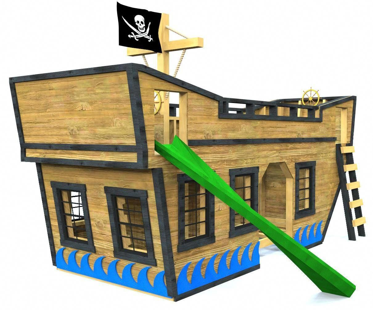 cool pirate ship bunk bed with slide, windows, ladder and