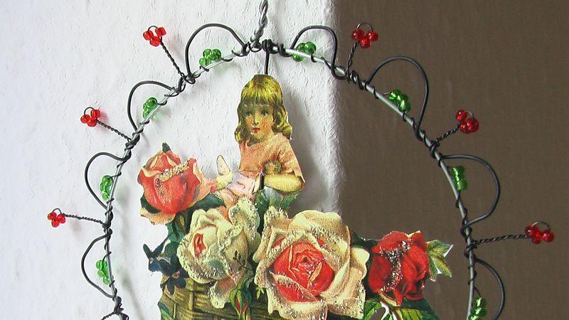 """Fensterdeko """"Kleines Mädchen im Rosenkorb!"""" von OlaVi auf DaWanda.com"""