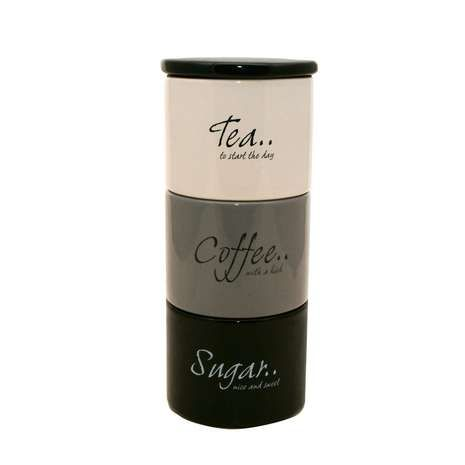Dunelm Monochrome Stack Of Tea Coffee And Sugar Storage Jars Black White