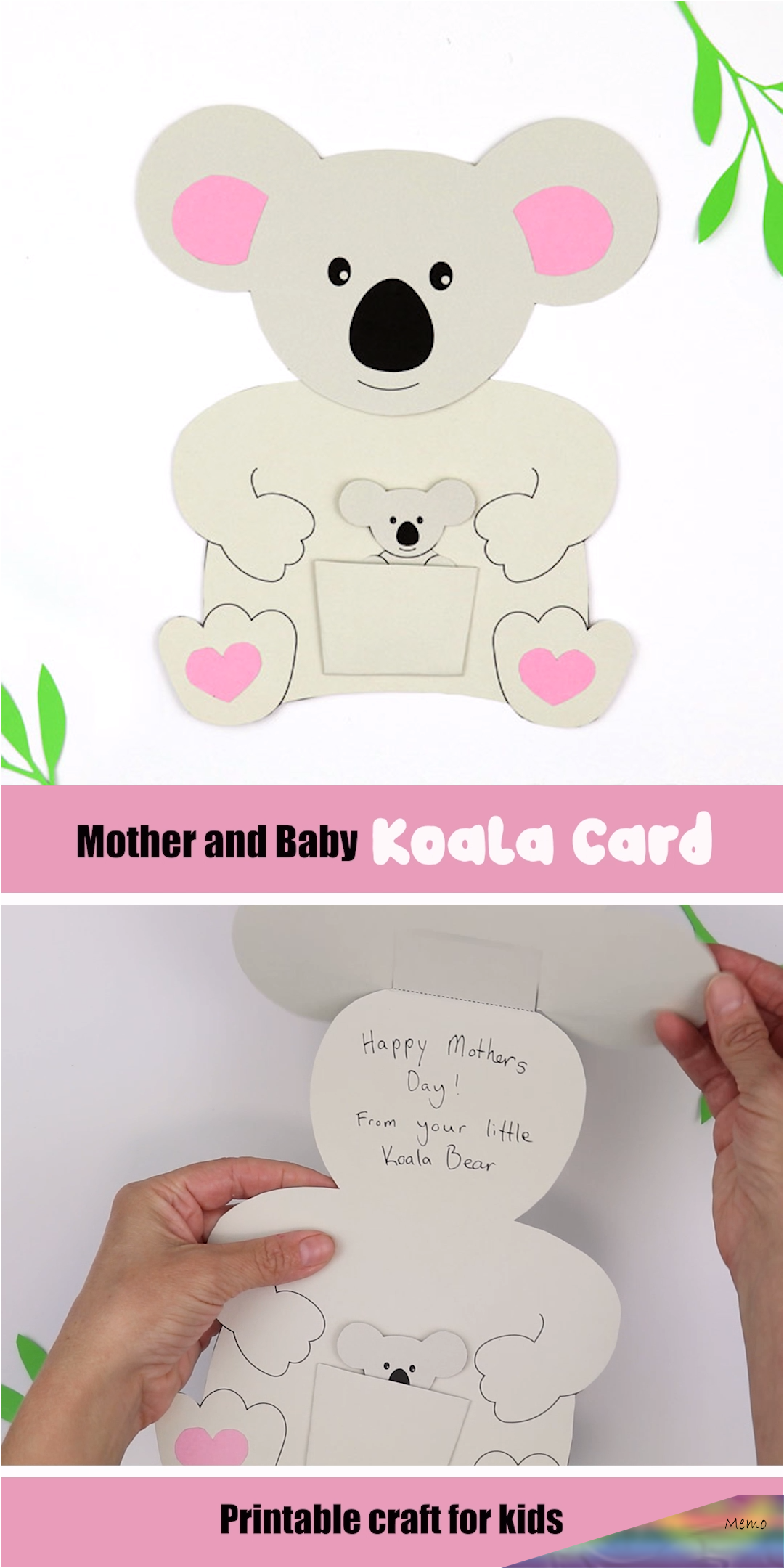 Make An Adorable Koaoa Card For Mothers Day This Printable Template Features A Mother Koala With A Baby In It Koala Craft Mothers Day Card Template Kids Cards