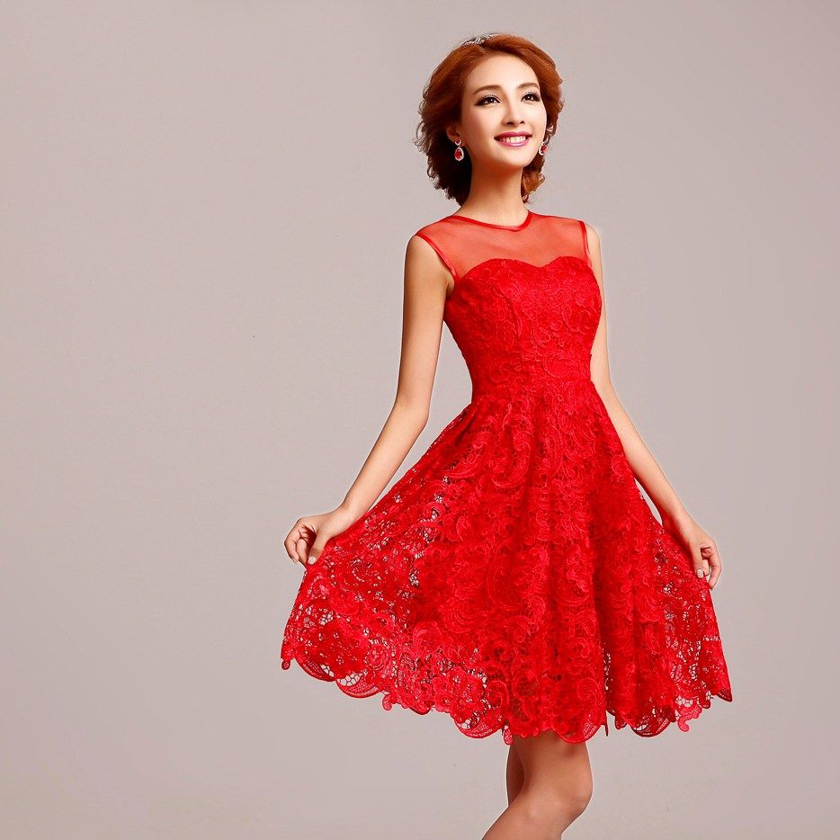Sleeveless chinese red lace silk short bridal wedding for Asian red wedding dresses