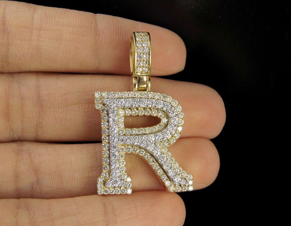 2 00 Ct Diamond Pendant 3d R Initial Letter Custom Charm In 10k Yellow Gold Over Silvergemsjewelry Penda Diamond Pendant Silver Wedding Bands Letter Pendants