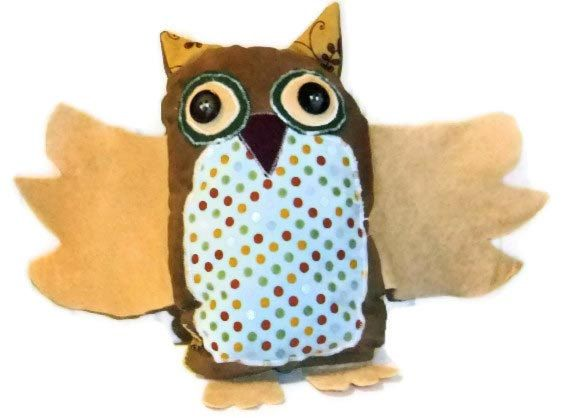 Stuffed Brown Owl in earthtone colors plush owl by DonnaMMonster, $6.00