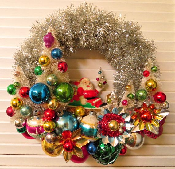vintage over the top christmas santas forest wreath