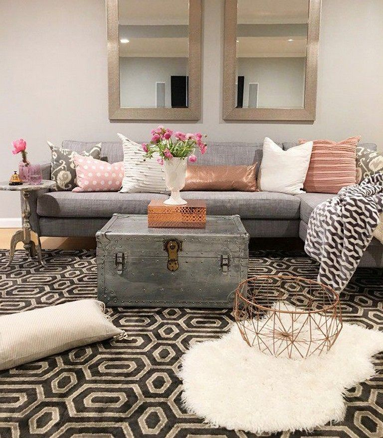 Grey Living Room Copper 35 Gorgeous Blush Grey Copper Room Decor Inspiration Shabby Chic Decor Living Room Copper Room Decor Copper And Grey Living Room