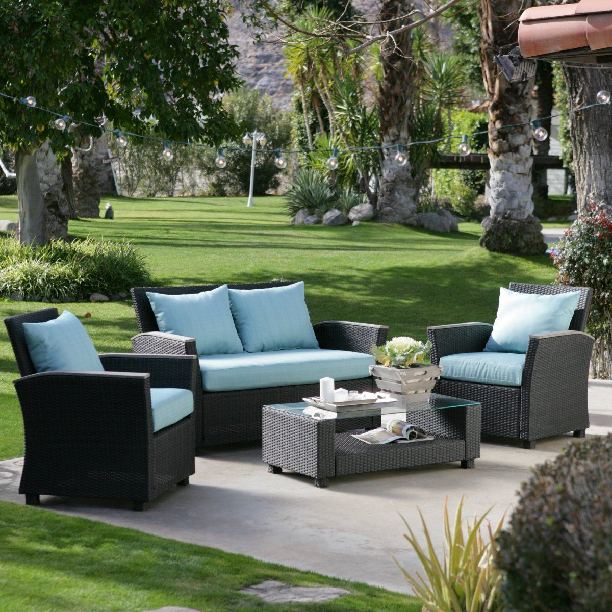 Captivating $1300 Delphi All Weather Chocolate Wicker Conversation Set   Outdoor Wicker  Furniture At Hayneedle