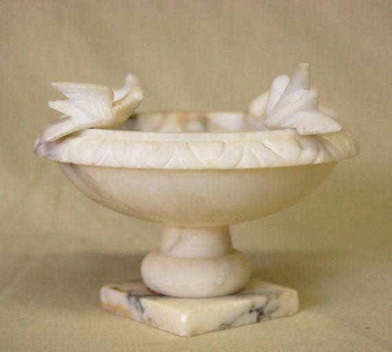 Antique Vintage Marble Alabaster Bird Bath Table Centerpiece Victorian Style Antiques Alabaster Bird Bath
