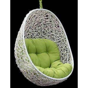 Belina - All Season White Wicker Porch Swing Chair - Great Hammocks