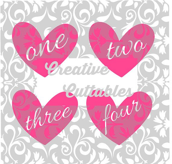 Heart Birthday Age  for  Silhouette or other craft cutters (.svg/.dxf/.eps)