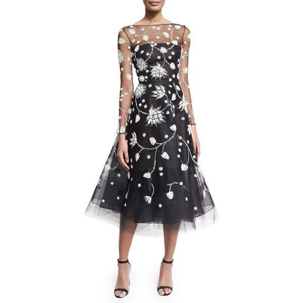 Oscar De La Renta Embroidered Illusion Tulle Midi Dress