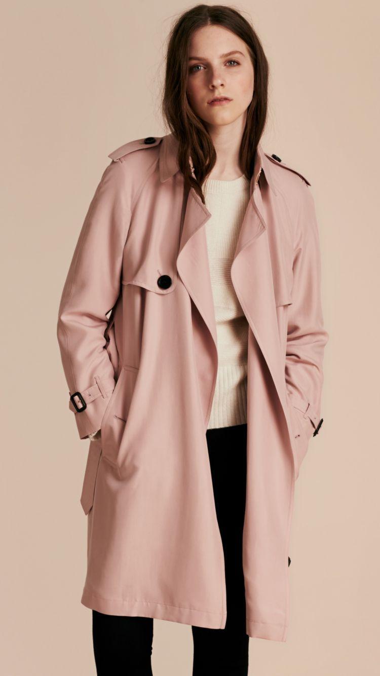 Lightweight Silk Wrap Trench Coat