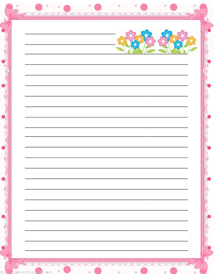 Flowers Free Printable Stationery For Kids, Regular Lined Floral Free  Printable Kids Writing Paper  Free Printable Lined Writing Paper