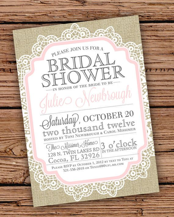 burlap and lace vintage bridal shower/baby shower by julsnewbrough, Wedding invitations