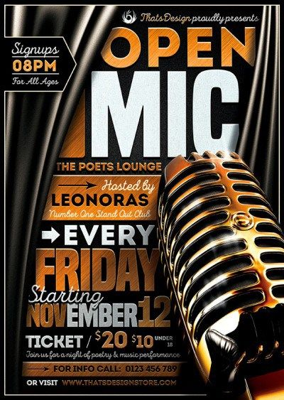 Open Mic Flyer Template  Comedy Nights Flyer Template And Template