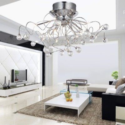LOCO® Modern Crystal chandelier with 11 Lights Chrom, Flush ...