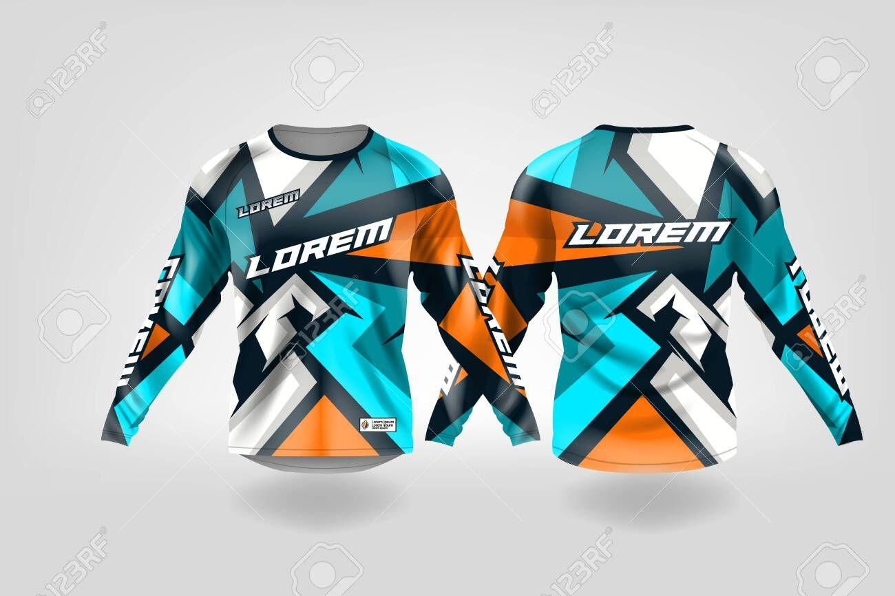 Download T Shirt Sport Design Template Long Sleeve Soccer Jersey Mockup For Football Club Uniform Front And Back View Motocross Jer Sports Design Soccer Jersey Soccer