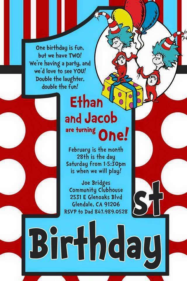 Dr Seuss Thing 1 2 Twin Boys First Birthday Party Ideas