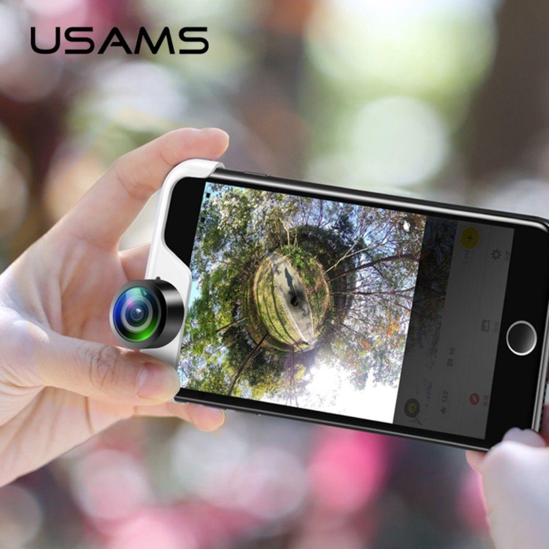 2018 Usams Original Cellphone 360 Panoramic Camera Lens 2 Pcs Phones Lens True Panorama Shot Lens For Iphone Panoclip Iphone Camera Lens Iphone Iphone Camera