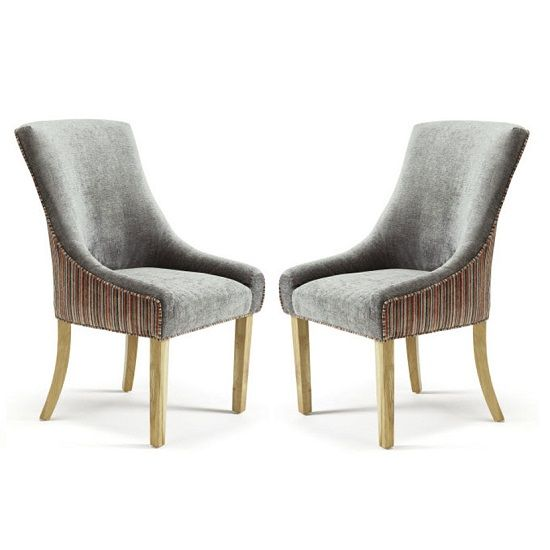 Hannah Dining Chair In Orange Steel Fabric in A Pair Dining